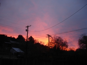 Not a normal New Mexico sunset, this sky was made dramatic by smoke from a nearby forest fire, 2012.