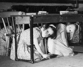 Children Kneel Under Desks During Air Raid Drill